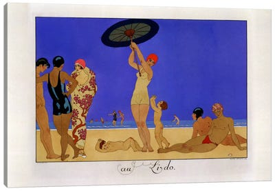 At the Lido, engraved by Henri Reidel, 1920 (litho) Canvas Art Print