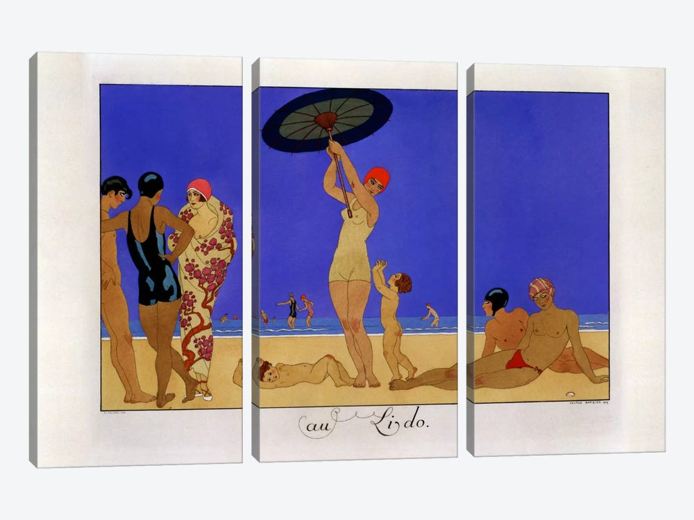 At the Lido, engraved by Henri Reidel, 1920 (litho) by George Barbier 3-piece Canvas Wall Art