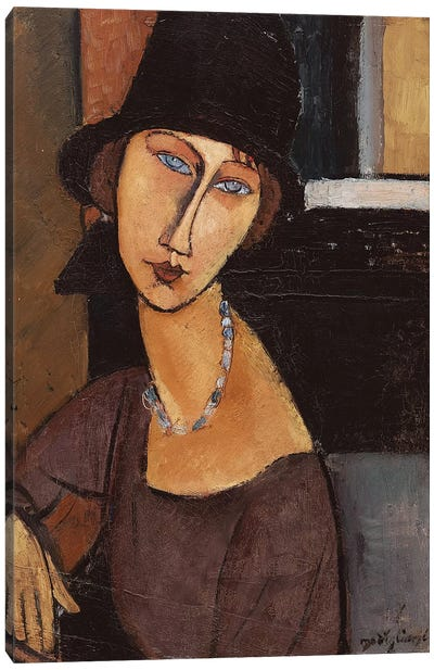 Jeanne Hebuterne wearing a hat, 1917  Canvas Art Print
