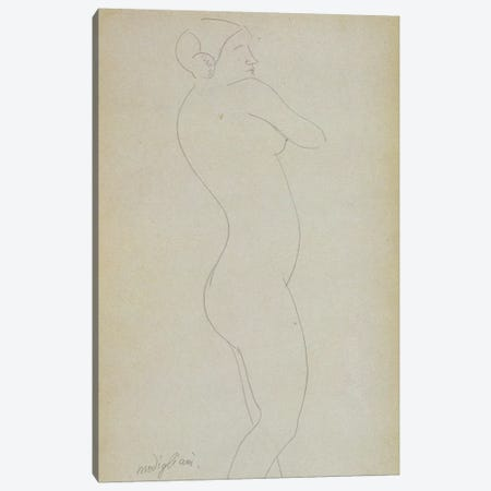 Nude Standing Girl  Canvas Print #BMN9007} by Amedeo Modigliani Canvas Wall Art