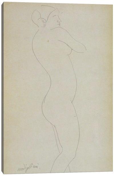 Nude Standing Girl  Canvas Art Print