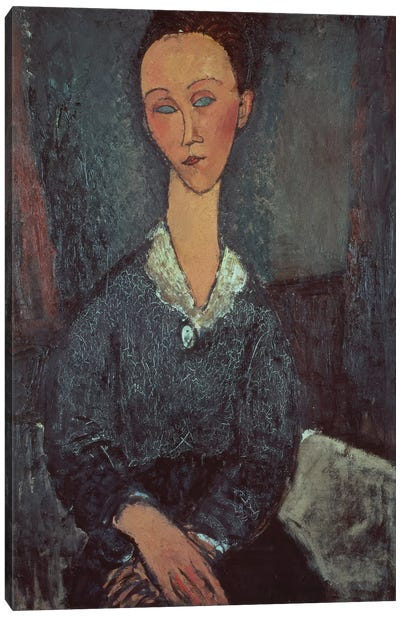Portrait of a Woman with a White Collar  Canvas Art Print