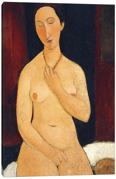 Sitting Nude with Necklace, 1917  Canvas Art Print