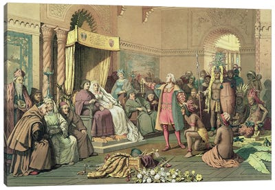 Columbus at the Royal Court of Spain in Barcelona  Canvas Art Print
