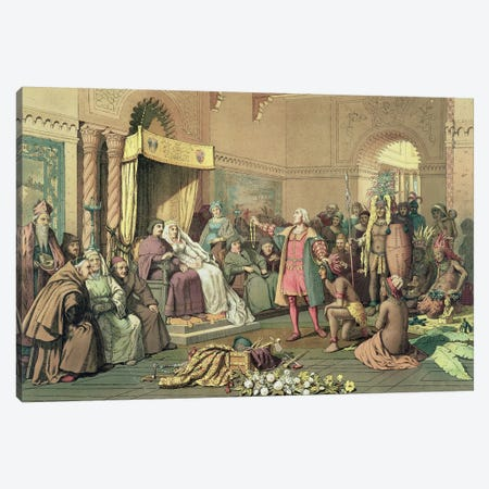 Columbus at the Royal Court of Spain in Barcelona  Canvas Print #BMN901} by Victor A. Searles Canvas Print