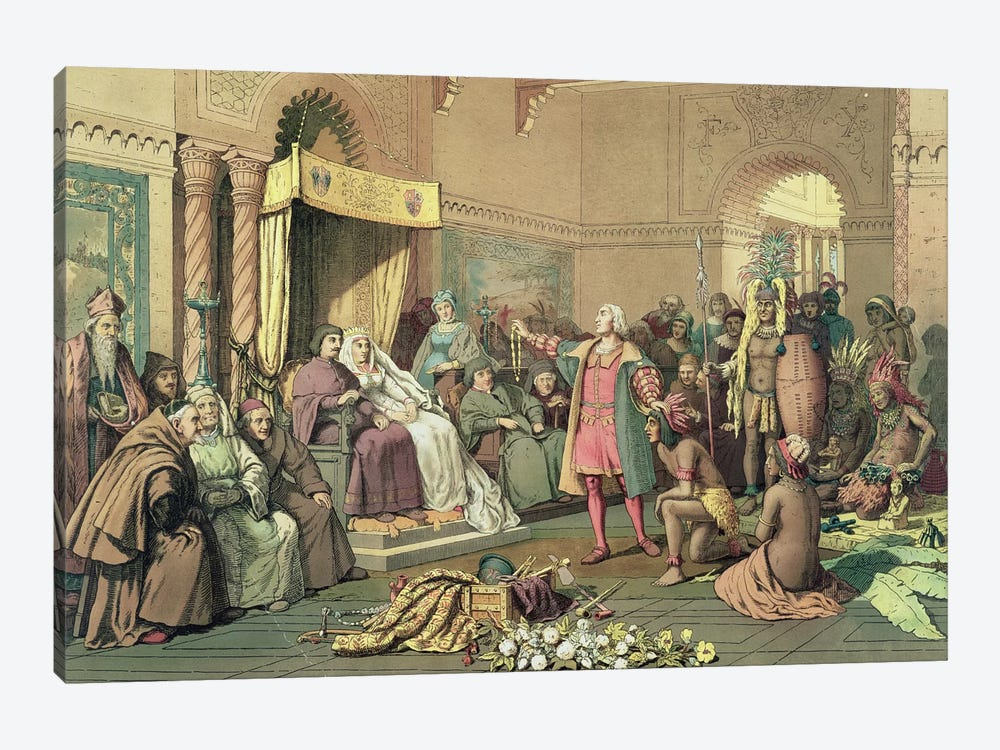 Columbus at the Royal Court of Spain in Barcelona  by Victor A. Searles 1-piece Canvas Art