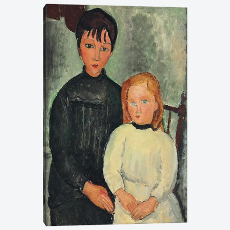 Two Girls, 1918  Canvas Print #BMN9025} by Amedeo Modigliani Canvas Art