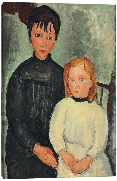 Two Girls, 1918  Canvas Art Print