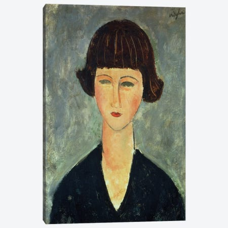 Young Brunette, 1917  Canvas Print #BMN9028} by Amedeo Modigliani Canvas Art Print