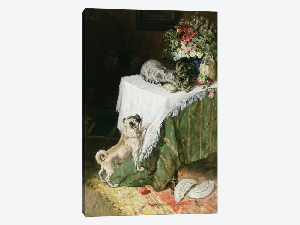 The Mischievous Tabbies by Clemence Nielssen 1-piece Canvas Art Print