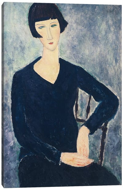 Young Seated Woman In Blue Dress, 1918 Canvas Art Print