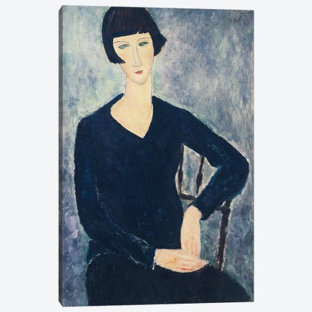 Young Seated Woman In Blue Dress, 1918 Canvas Print #BMN9030} by Amedeo Modigliani Canvas Wall Art