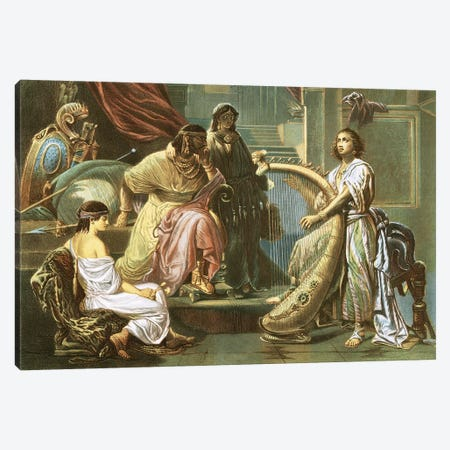 David playing the harp for Saul Canvas Print #BMN9032} by Andreas Cellarius Canvas Art