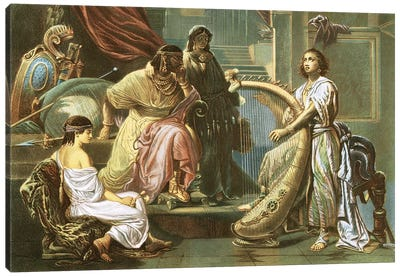 David playing the harp for Saul Canvas Art Print