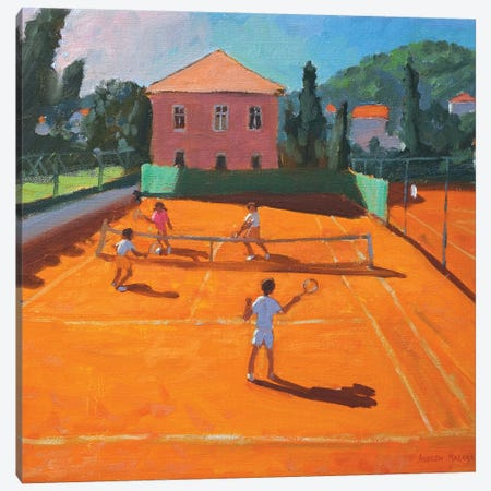 Clay Court Tennis, Lapad, Croatia Canvas Print #BMN9035} by Andrew Macara Art Print