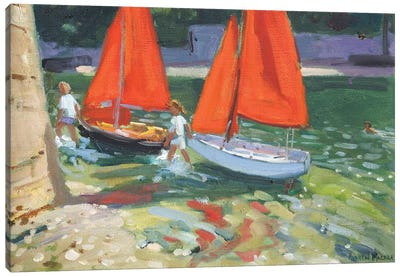 Girls With Sail Boats, Looe Canvas Art Print