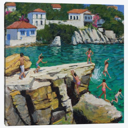Jumping Into The Sea, Plates, Skiathos Canvas Print #BMN9044} by Andrew Macara Canvas Artwork