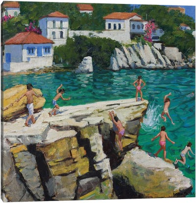 Jumping Into The Sea, Plates, Skiathos Canvas Art Print