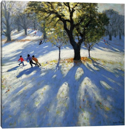 Markeaton Park, Early Snow Canvas Art Print