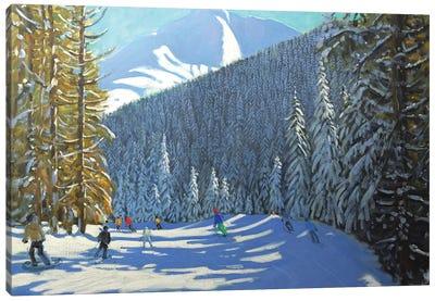 Skiing, Beauregard La Clusaz Canvas Art Print