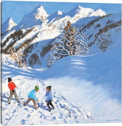 Snowballing, La Clusaz, France  Canvas Art Print