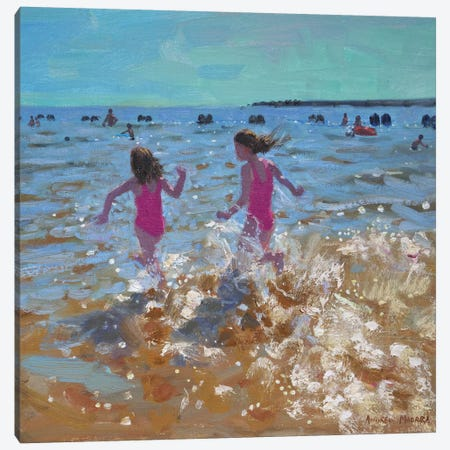 Splashing In The Sea, Clacton Canvas Print #BMN9061} by Andrew Macara Canvas Art Print
