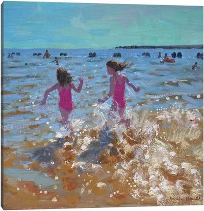 Splashing In The Sea, Clacton Canvas Art Print