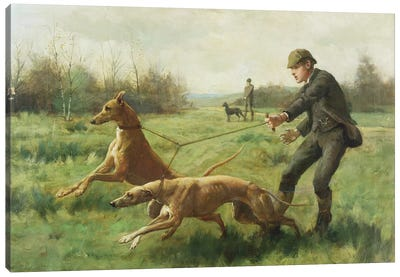 Exercising Greyhounds Canvas Art Print