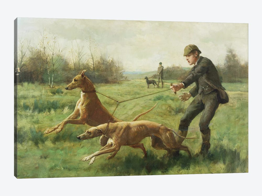 Exercising Greyhounds by George Goodwin Kilburne 1-piece Canvas Art Print