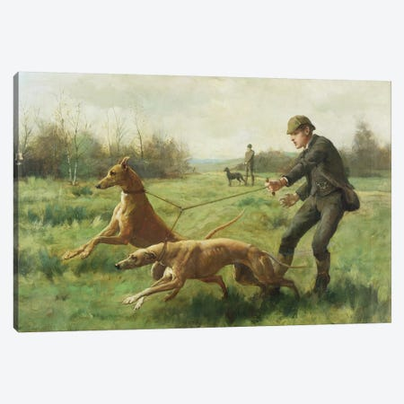 Exercising Greyhounds Canvas Print #BMN906} by George Goodwin Kilburne Canvas Wall Art