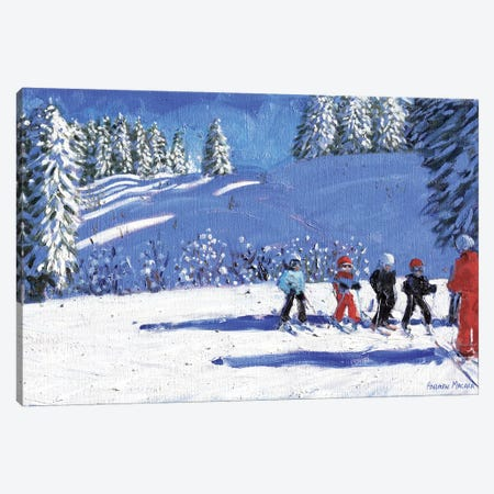 Young Skiers, Morzine, France Canvas Print #BMN9072} by Andrew Macara Canvas Artwork