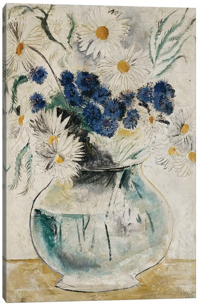 Daisies and Cornflowers in a Glass Bowl, 1927 Canvas Art Print