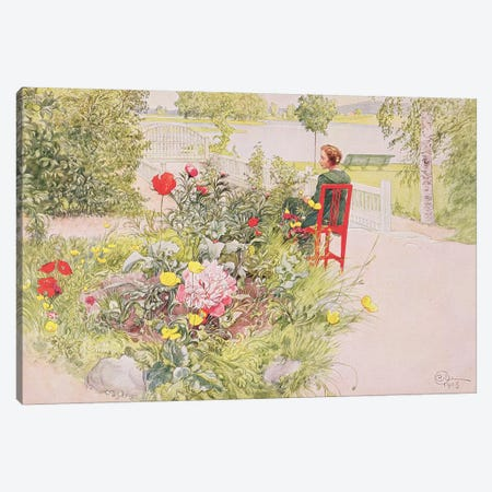 Summer in Sundborn, 1913, from a commercially printed portfolio, published in 1939 Canvas Print #BMN9079} by Carl Larsson Canvas Wall Art