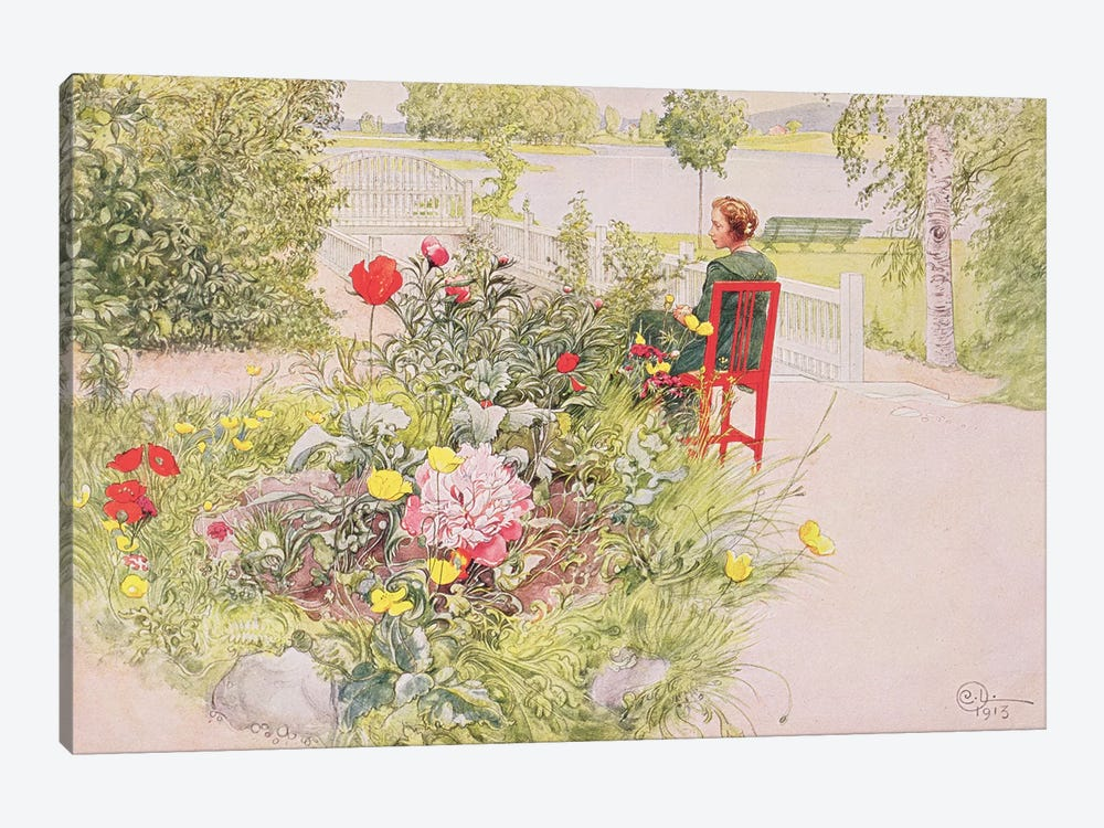 Summer in Sundborn, 1913, from a commercially printed portfolio, published in 1939 by Carl Larsson 1-piece Canvas Artwork