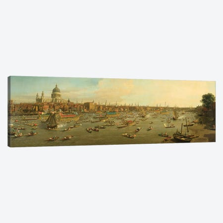 The River Thames with St. Paul's Cathedral on Lord Mayor's Day, c.1747-8 Canvas Print #BMN9082} by Canaletto Canvas Art Print