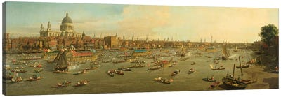 The River Thames with St. Paul's Cathedral on Lord Mayor's Day, c.1747-8 Canvas Art Print