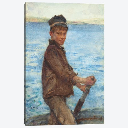 Steering the Punt, 1909 Canvas Print #BMN9086} by Henry Scott Tuke Canvas Wall Art