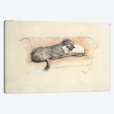 Reconciliation; Wolfhound and Bull Terrier Asleep in a Sofa Canvas Print #BMN9093} by Cecil Charles Windsor Aldin Canvas Artwork