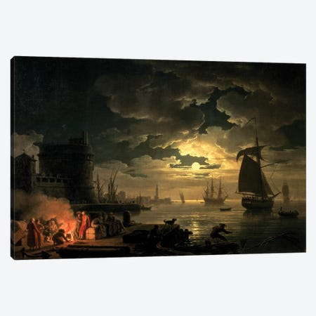 The Harbour of Palermo, 1750 Canvas Print #BMN9100} by Claude Joseph Vernet Canvas Artwork