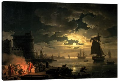 The Harbour of Palermo, 1750 Canvas Art Print