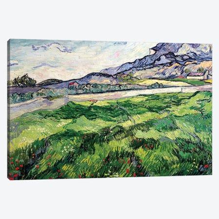 The Green Wheatfield behind the Asylum, 1889 Canvas Print #BMN9101} by Vincent van Gogh Canvas Art