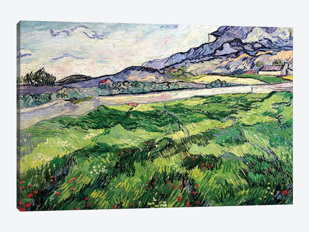 The Green Wheatfield behind the Asylum, 1889 1-piece Canvas Art