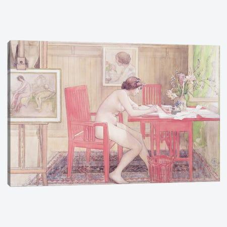 Model Writing Postcards, 1906 Canvas Print #BMN9102} by Carl Larsson Canvas Art