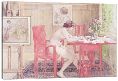Model Writing Postcards, 1906 Canvas Art Print