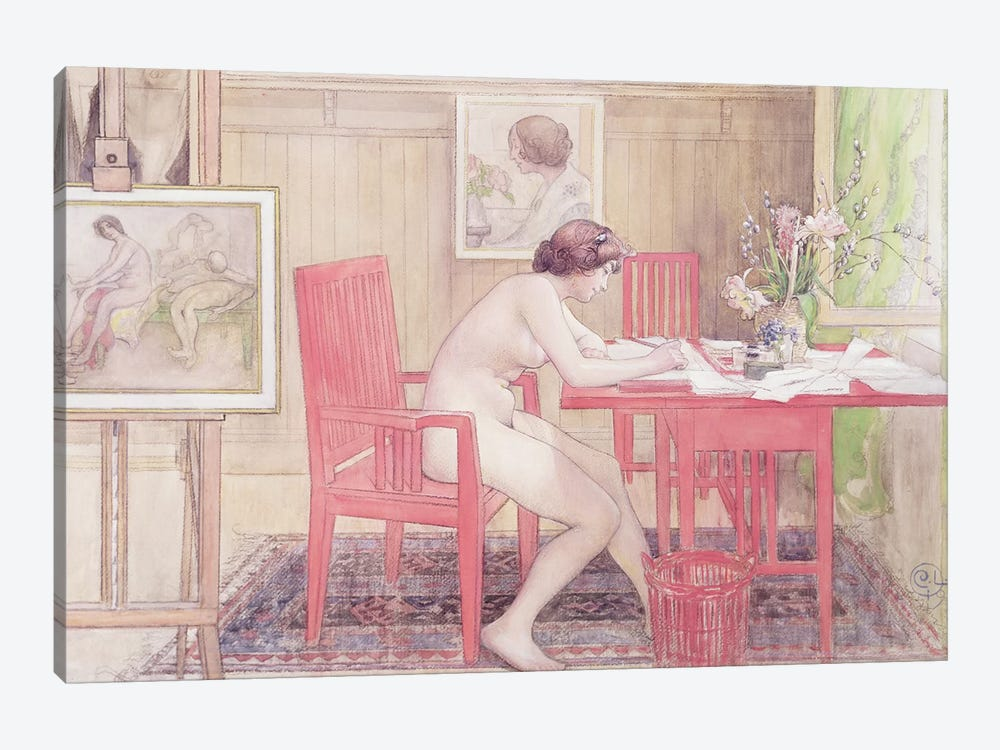 Model Writing Postcards, 1906 by Carl Larsson 1-piece Canvas Art Print