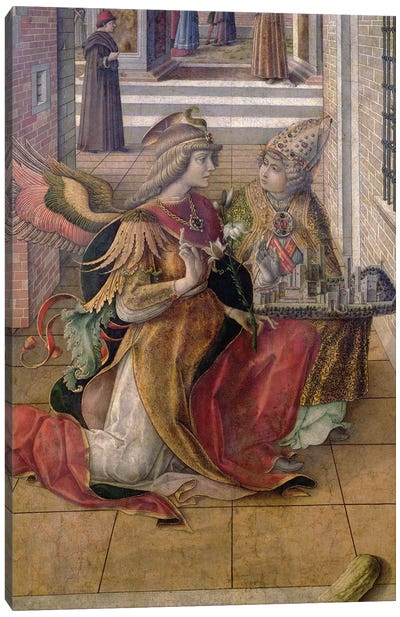 The Annunciation with St. Emidius, detail of the archangel Gabriel with the saint, 1486 Canvas Art Print