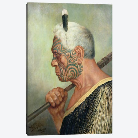 A Maori Warrior Canvas Print #BMN9105} by Charles Frederick Goldie Canvas Art Print