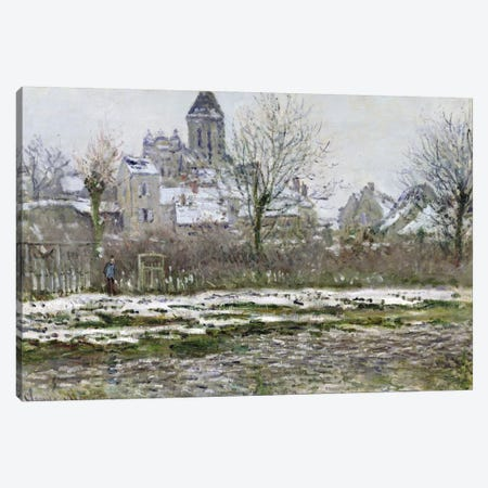 The Church at Vetheuil under Snow, 1878-79  Canvas Print #BMN910} by Claude Monet Canvas Art
