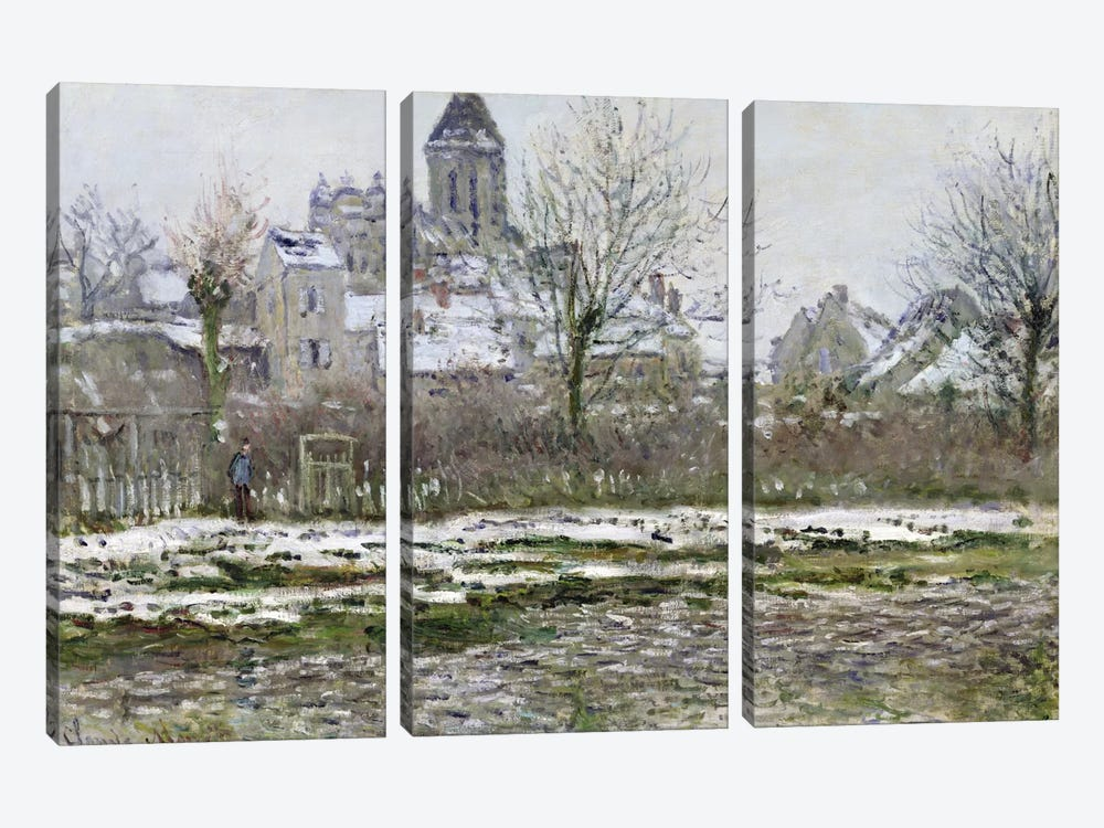 The Church at Vetheuil under Snow, 1878-79  by Claude Monet 3-piece Canvas Wall Art