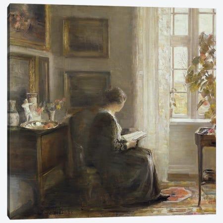 Reading by a Sunny Window Canvas Print #BMN9110} by Carl Holsoe Canvas Print